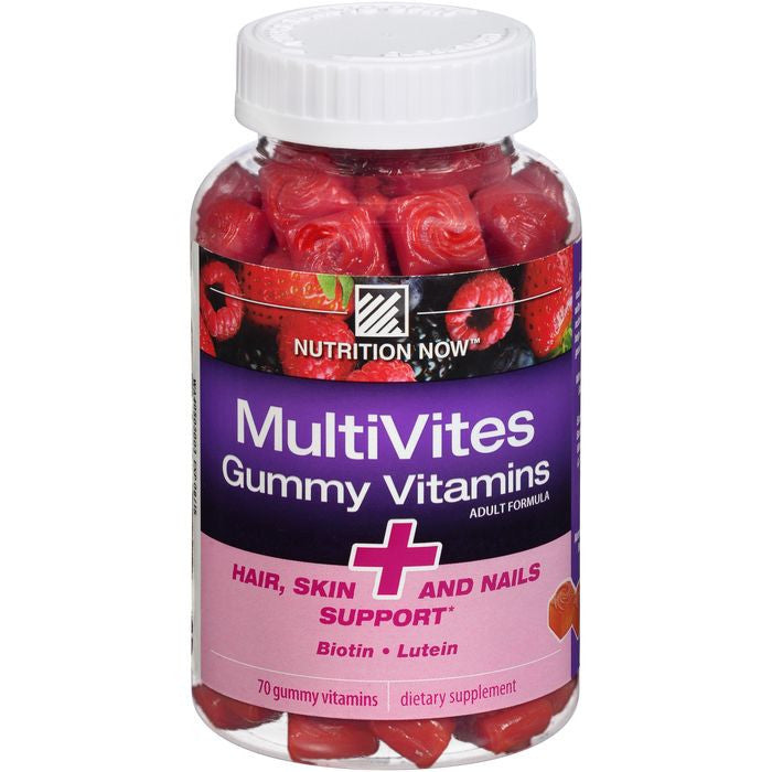 Nutrition Now MultiVites Hair, Skin and Nails Support Gummy Vitamins 70 ct