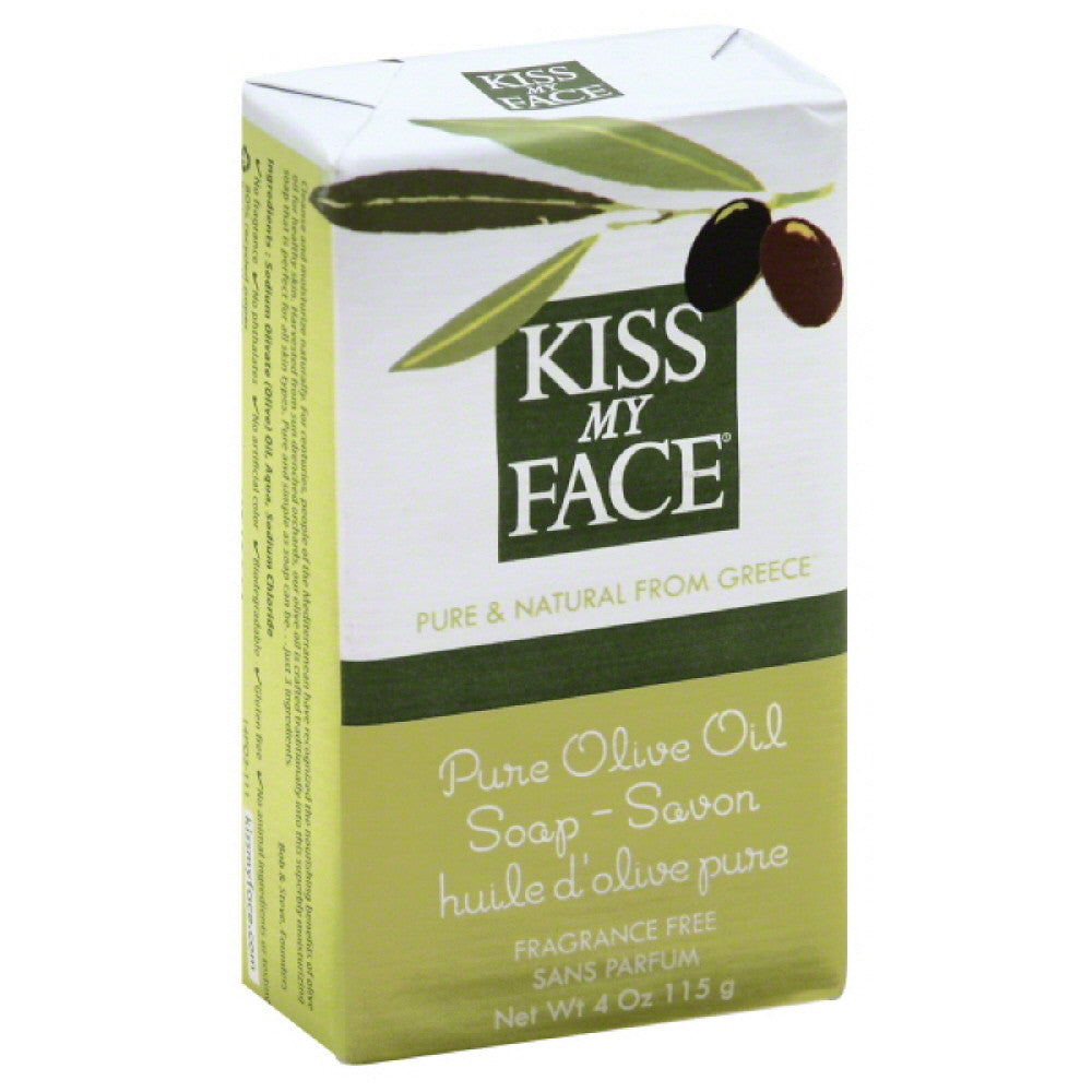 Kiss My Face Fragrance Free Pure Olive Oil Soap, 4 Oz