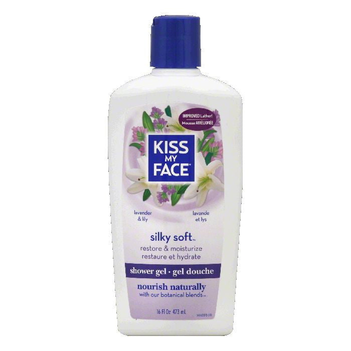 Kiss My Face Lavender & Lily Shower Gel, 16 OZ