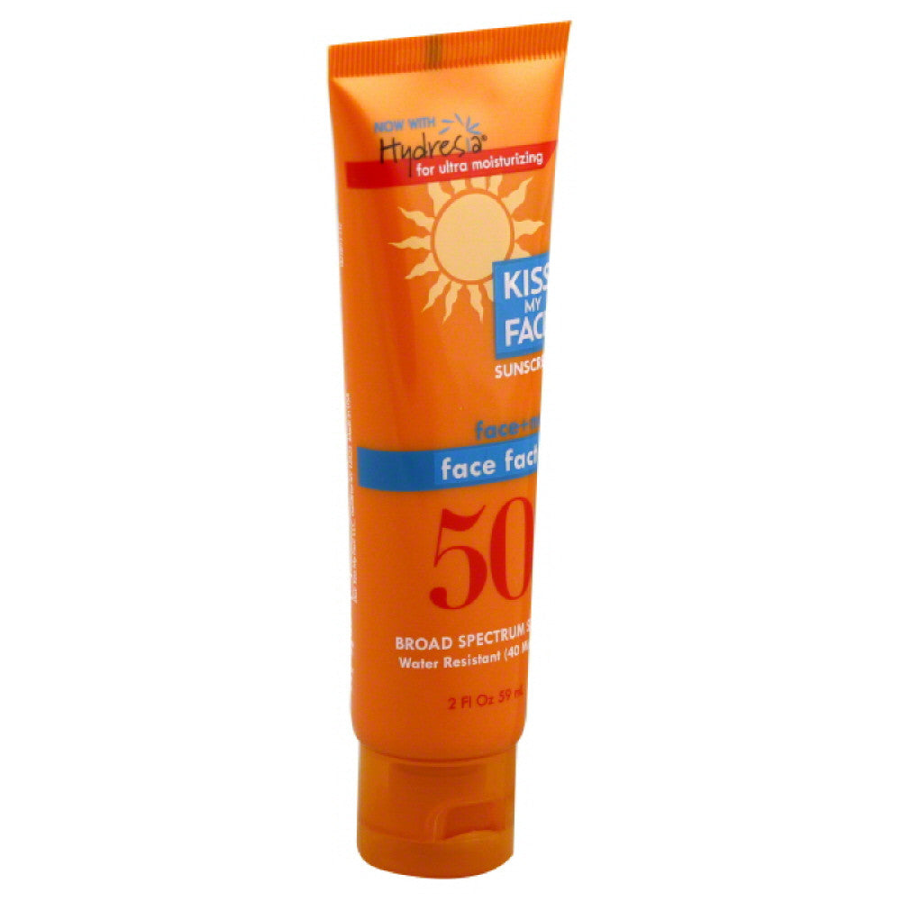 Kiss My Face Broad Spectrum SPF 50 Water Resistant Face Factor Sunscreen, 2 Oz