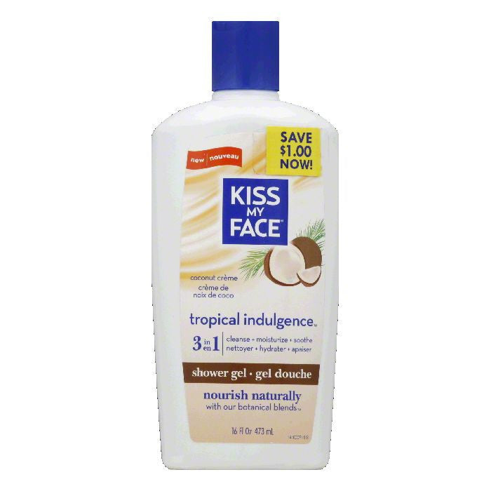 Kiss My Face Tropical Indulgence Coconut Creme 3 in 1 Shower Gel, 16 FO