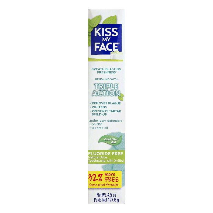 Kiss My Face Cool Mint Gel Triple Action Toothpaste, 4.5 OZ