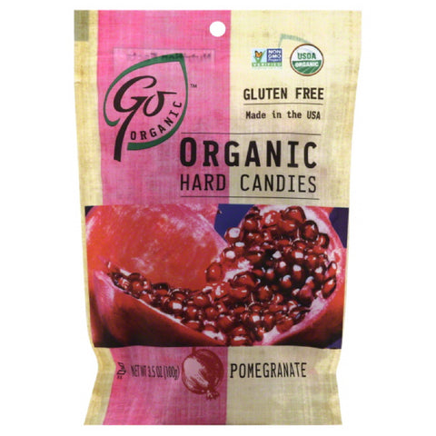 Go Organic Pomegranate Organic Hard Candies, 3.5 Oz (Pack of 6)