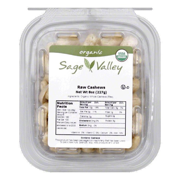 Sage Valley Usa.nut cashew whl 180 ra, 8 OZ (Pack of 6)