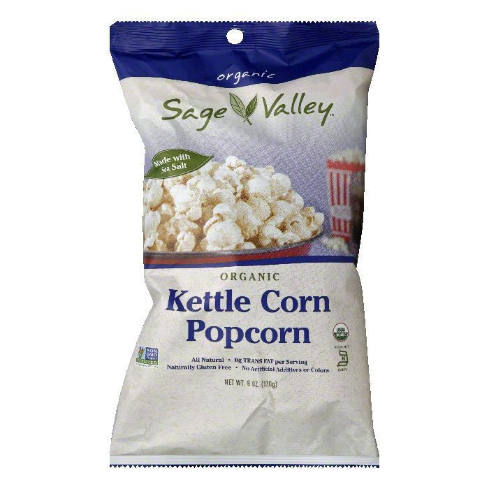 Sage Valley Kettle Corn Organic Popcorn, 6 Oz (Pack of 12)