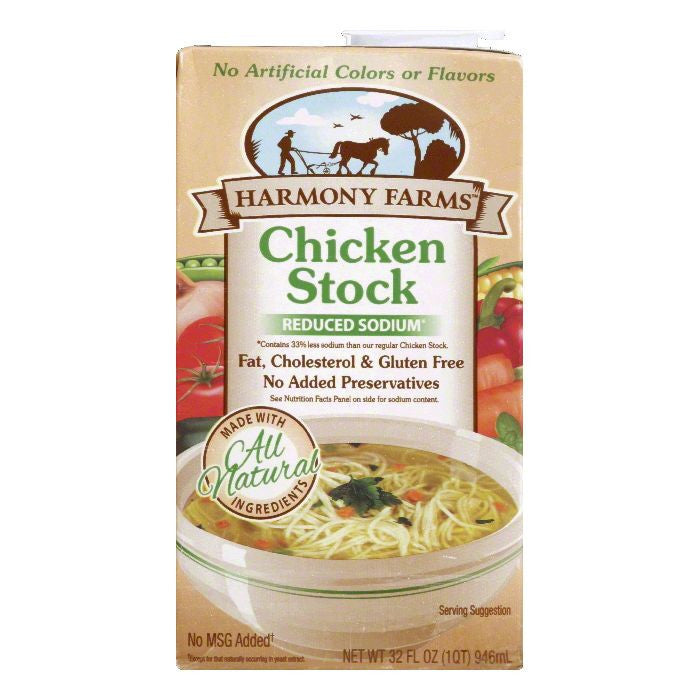 Harmony Farms Reduced Sodium Chicken Stock, 32 FO (Pack of 12)