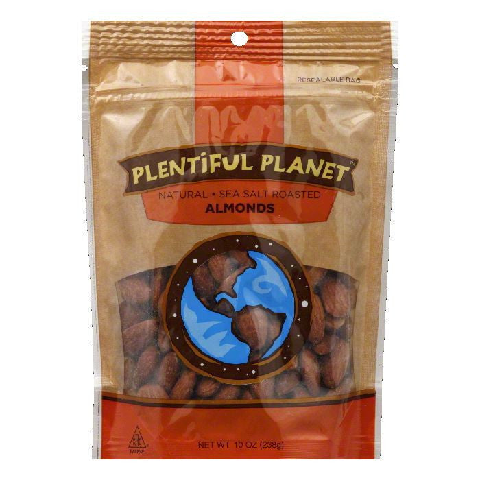 Plentiful Planet Roasted Almond Salted Nut Bag, 10 OZ (Pack of 6)