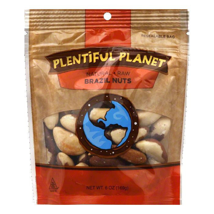 Plentiful Planet Brazil Raw Nut Bag, 6 OZ (Pack of 6)
