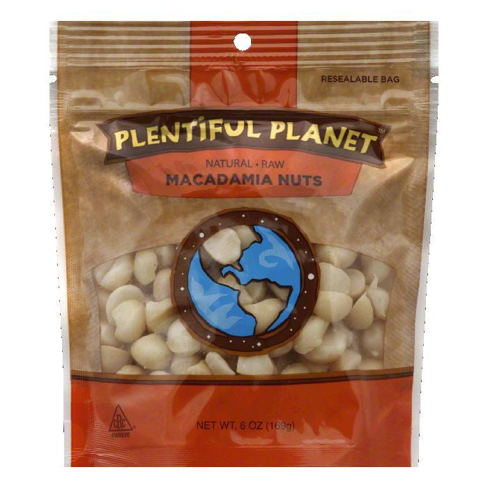 Plentiful Planet Raw Macadamia Nuts, 6 Oz (Pack of 6)