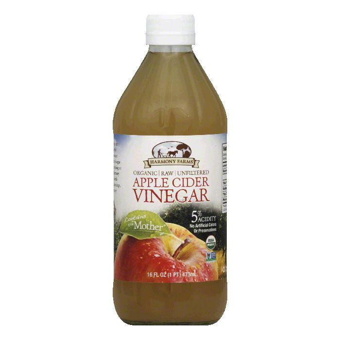 Harmony Farms Raw Unfiltered Organic Apple Cider Vinegar, 16 FO (Pack of 12)