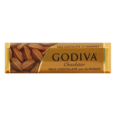 Godiva Milk Chocolate Bar with Almonds, 1.5 OZ (Pack of 24)
