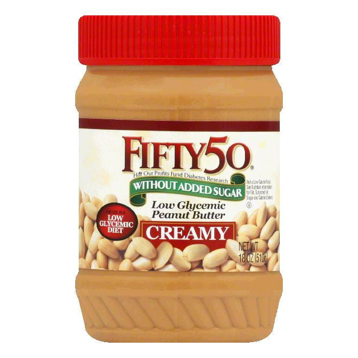 Fifty 50 Peanut Butter Creamy-Low Sodium, 18 OZ (Pack of 6)