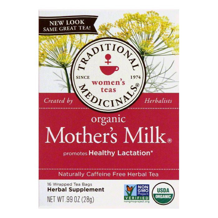 Traditional Medicinals Caffeine Free Mother's Milk Organic Herbal Tea, 16 ea (Pack of 6)