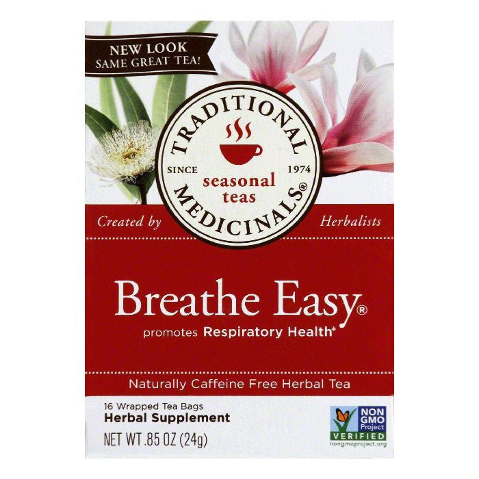 Traditional Medicinals Caffeine Free Breathe Easy Herbal Tea, 16 ea (Pack of 6)
