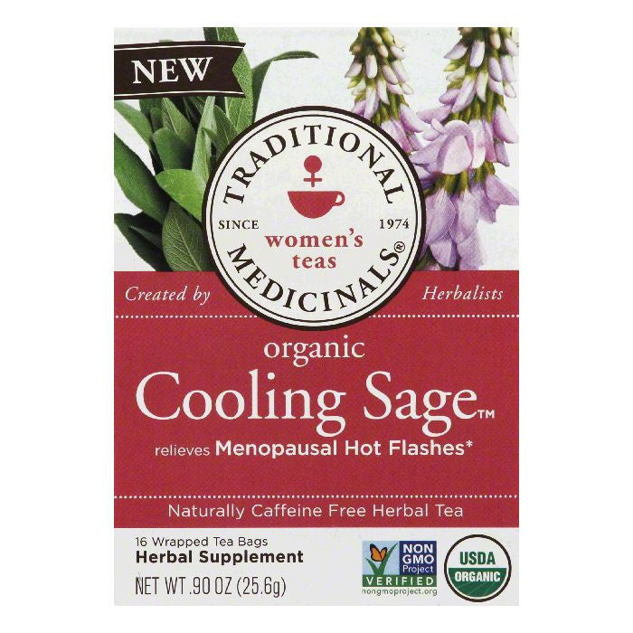 Traditional Medicinals Bags Caffeine Free Cooling Sage Organic Herbal Tea, 16 ea (Pack of 6)