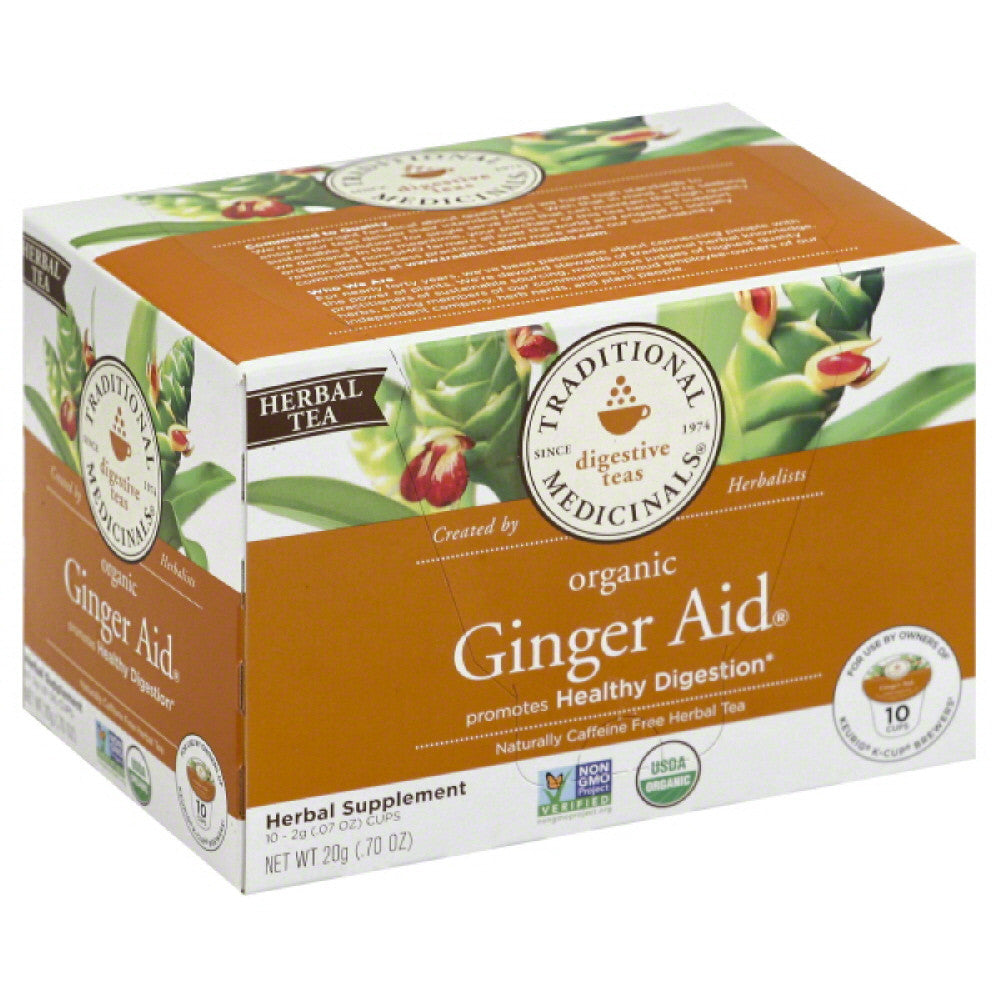 Traditional Medicinals Organic Naturally Caffeine Free Ginger Aid Herbal Tea K-Cups, 10 Pc (Pack of 6)
