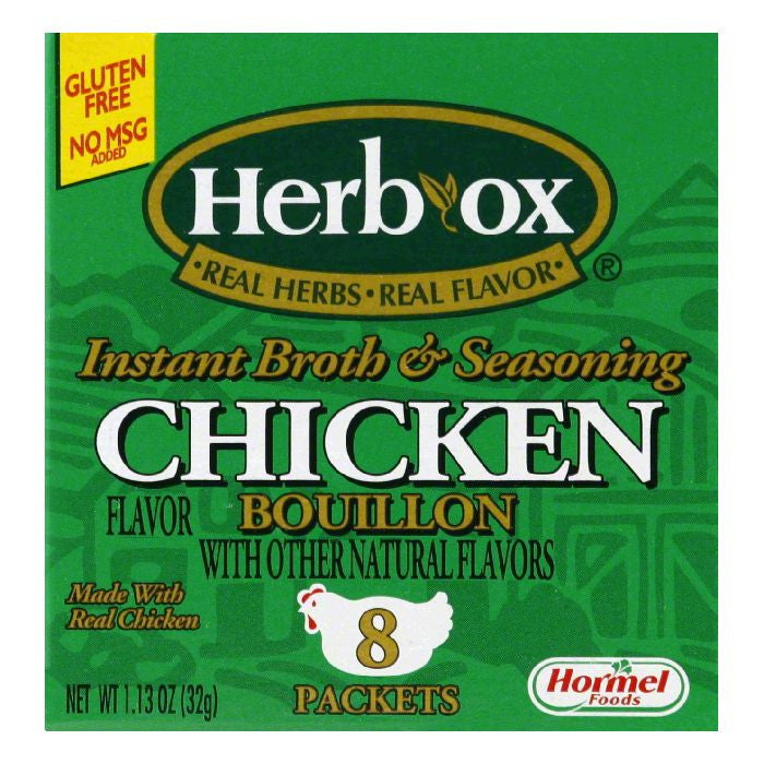 HERB-OX Chicken Instant Broth & Seasoning 8 Ct Bouillon Packets 1.13 OZ  (Pack of 12)