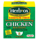 HERB-OX Chicken Instant Broth & Seasoning Sodium Free 8 Ct Bouillon Packets 1.2 OZ  (Pack of 12)