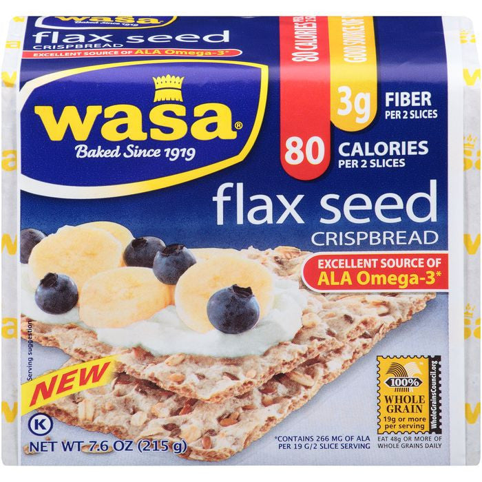 Wasa Flax Seed Crispbread 7.6 Oz Package (Pack of 12)