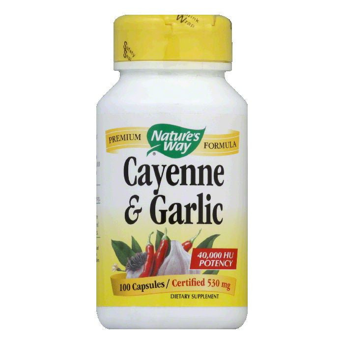 Natures Way Capsules Certified 530 mg Cayenne & Garlic, 100 ea