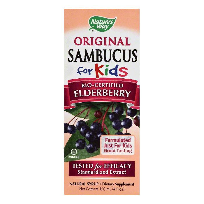 Natures Way Berry Flavor Natural Syrup for Kids Bio-Certified Elderberry, 4 OZ