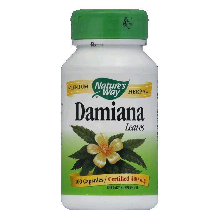 Natures Way Capsules Certified 400 mg Damiana Leaves, 100 ea