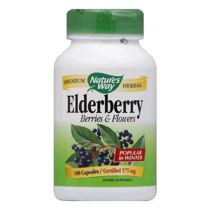 Natures Way Capsules 575 mg Berries & Flowers Elderberry, 100 ea