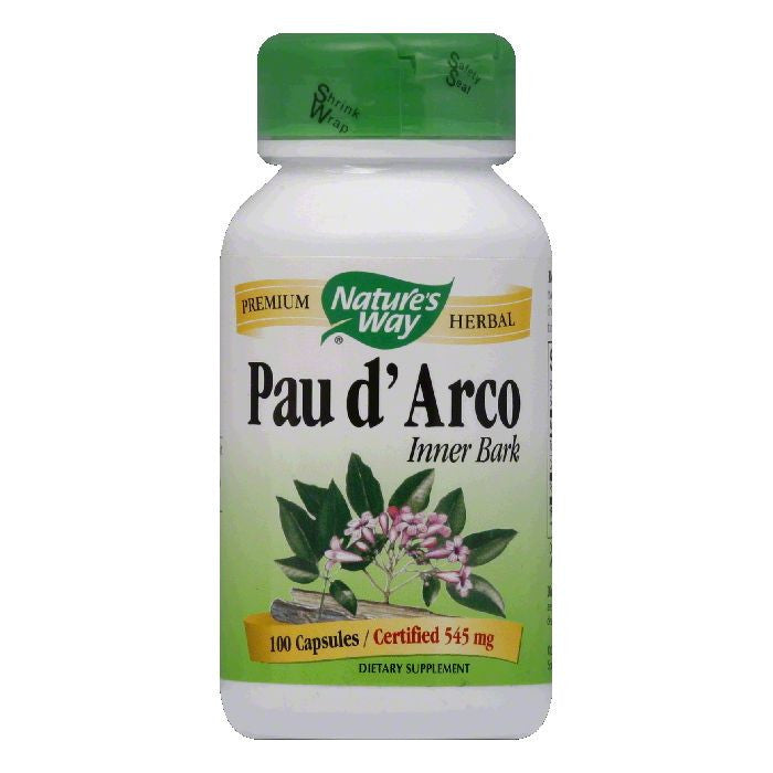 Natures Way Capsules Certified 545 mg Pau d'Arco Inner Bark, 100 ea