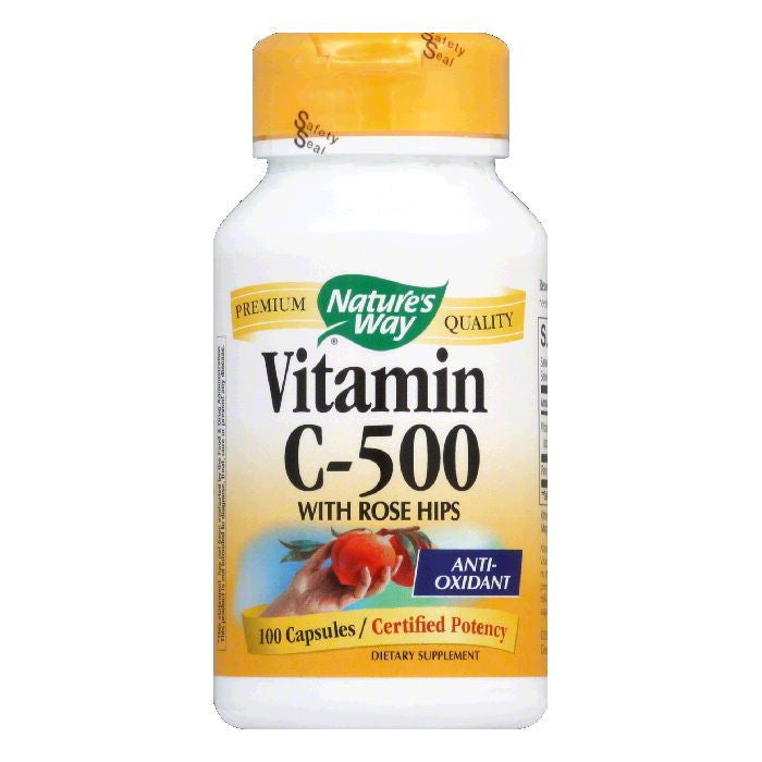 Natures Way Capsules with Rose Hips Vitamin C-500, 100 ea