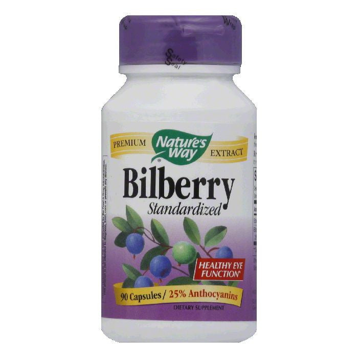 Natures Way Capsules Standardized Bilberry, 90 ea