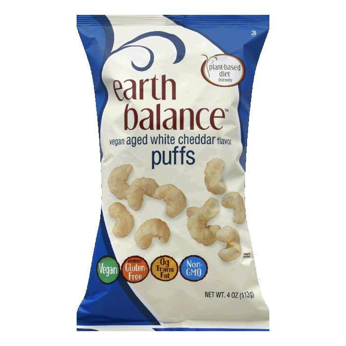 Earth Balance Aged White Cheddar Flavor Vegan Puffs, 4 Oz (Pack of 12)