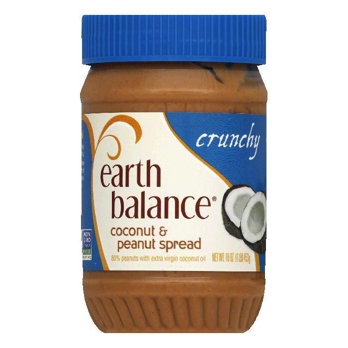Earth Balance Crunchy Coconut & Peanut Spread, 16 OZ (Pack of 12)
