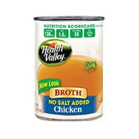 Health Valley Broth Chicken No Salt Added Fat Free, 13.75 FO (Pack of 12)