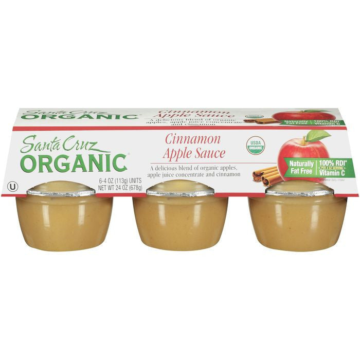 Santa Cruz Organic Cinnamon Apple Sauce 6-4 oz Cups (Pack of 12)
