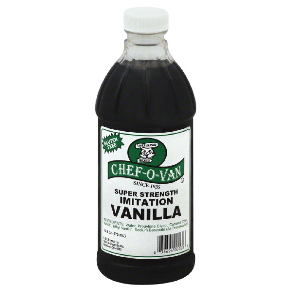 Chef O Van Super Strength Imitation Vanilla, 16 Oz (Pack of 12)