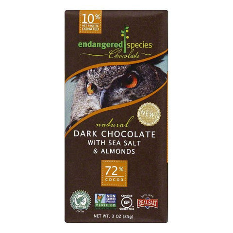 Endangered Species Sea Salt & Almonds Dark Chocolate Bar, 3 OZ (Pack of 12)