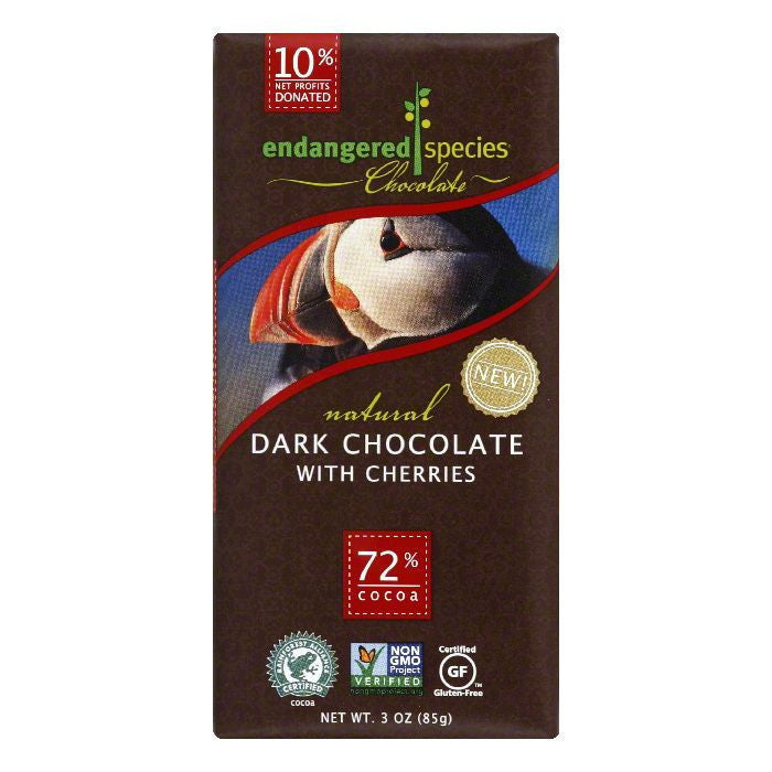 Endangered Species Dark Cherries Chocolate Bar, 3 OZ (Pack of 12)