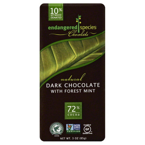 Endangered Species 72% Cocoa with Forest Mint Dark Chocolate, 3 Oz (Pack of 12)