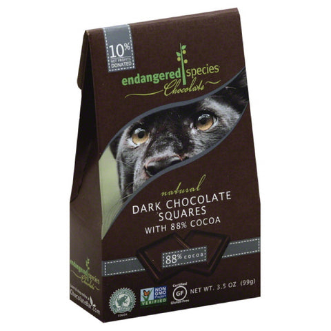 Endangered Species Dark Chocolate Squares with 88% Cocoa, 3.5 Oz (Pack of 6)