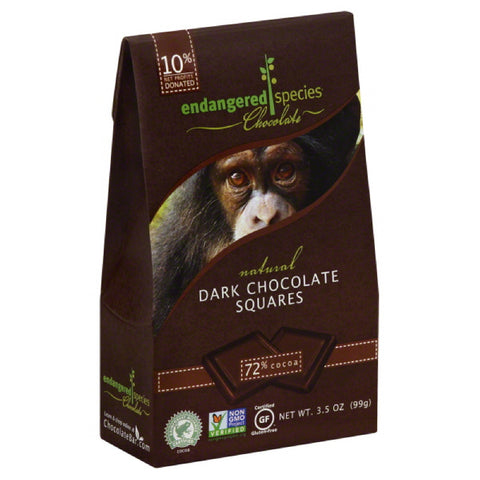 Endangered Species Squares Dark Chocolate, 3.5 Oz (Pack of 6)