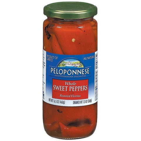 PELOPONNESE Roasted Florina Whole Sweet Peppers 13 OZ  (Pack of 6)