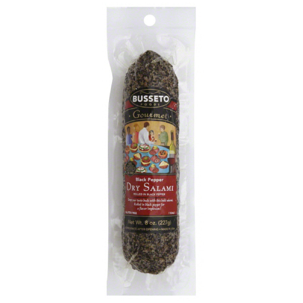 Busseto Black Pepper Dry Salami, 8 Oz (Pack of 15)
