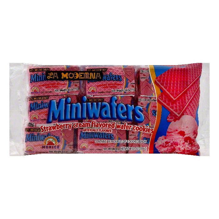 La Moderna Strawberry Cream Flavored Miniwafers, 18 ea (Pack of 20)