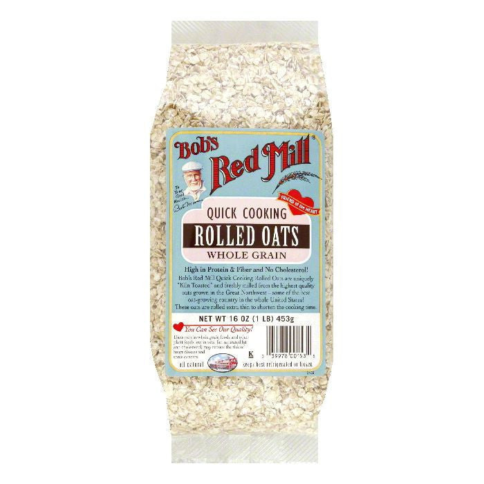 Bobs Red Mill Rolled Oats Quick, 16 OZ (Pack of 4)