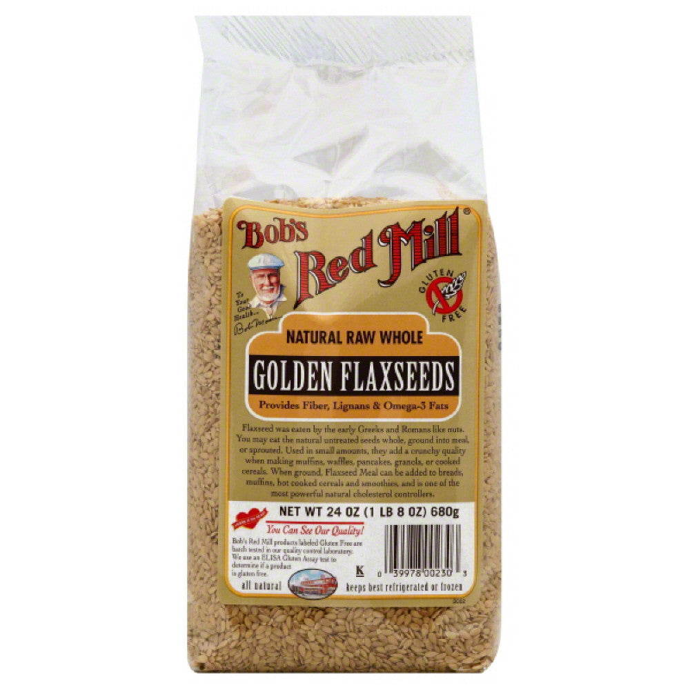 Bobs Red Mill Natural Raw Whole Golden Flaxseeds, 24 Oz (Pack of 4)
