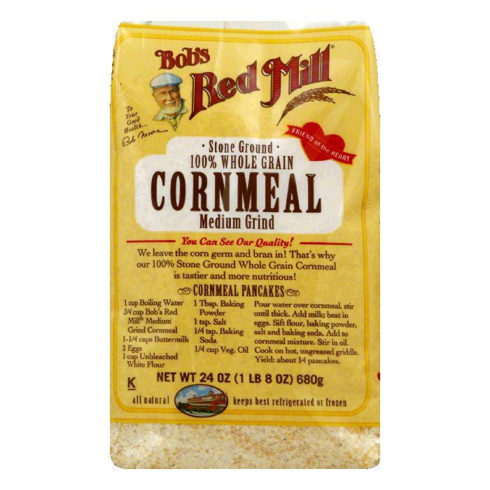 Bobs Red Mill Cornmeal Medium Grind, 24 OZ (Pack of 4)