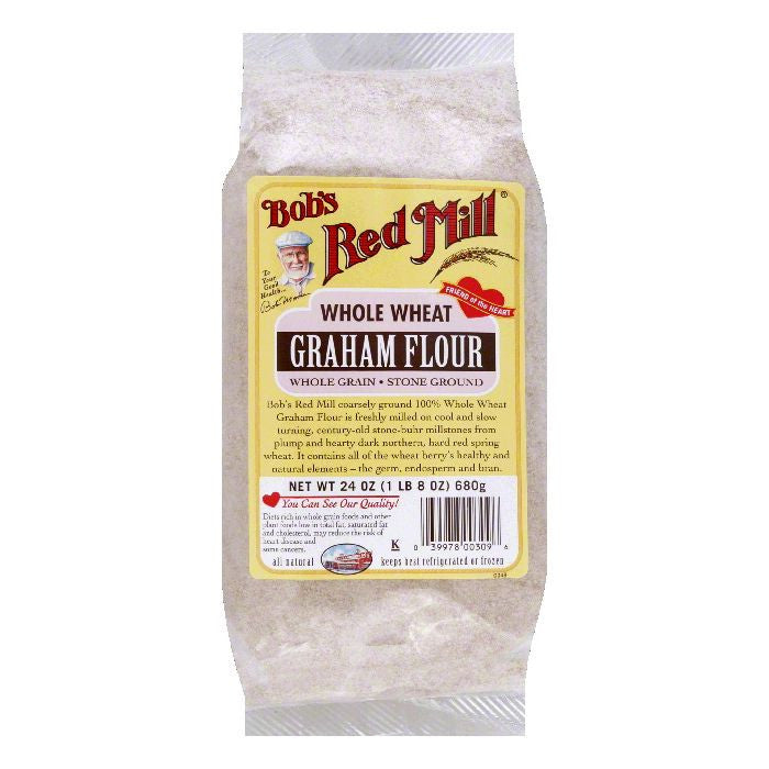 Bobs Red Mill Whole Wheat Stone Ground Whole Grain Graham Flour, 24 OZ (Pack of 4)