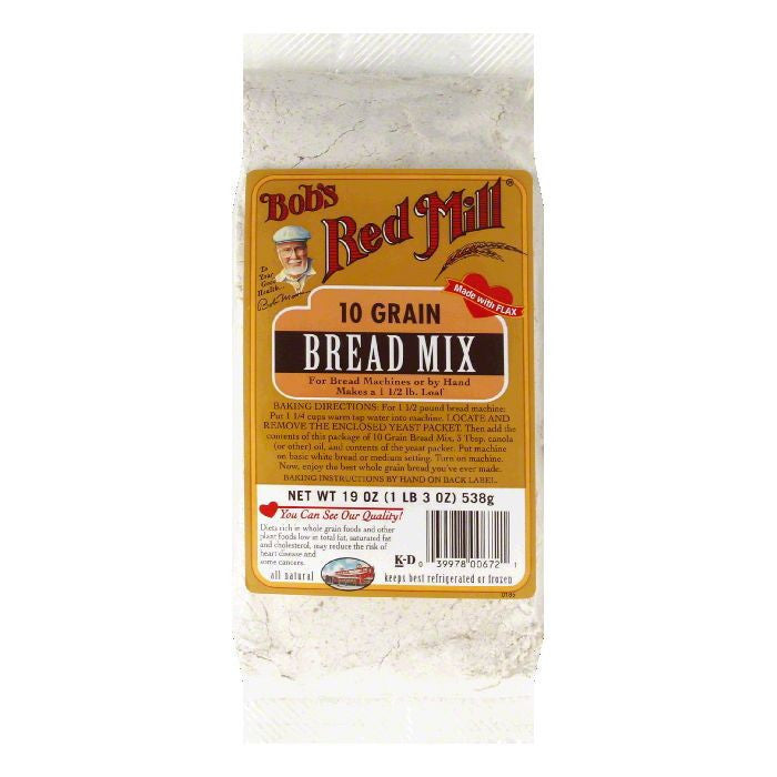 Bobs Red Mill Bread Mix 10-Grain, 19 OZ (Pack of 4)