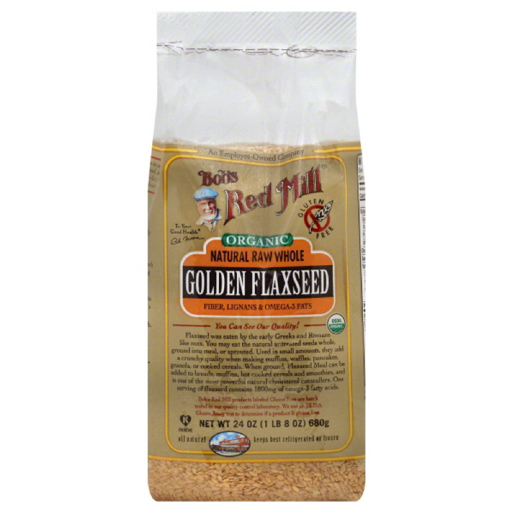 Bobs Red Mill Natural Raw Whole Golden Flaxseed, 24 Oz (Pack of 4)