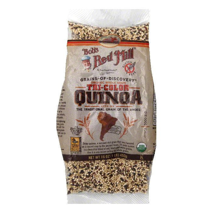 Bobs Red Mill Organic Whole Grain Tri-Color Quinoa, 16 Oz (Pack of 4)